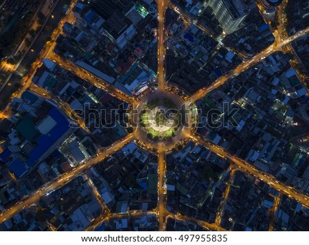 Road roundabout large The road has six lines beautiful at night , Bird Eye View in bangkok , 22 Karakadakhom Circle , Bangkok , Thailand .
