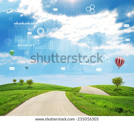 Road running through green hills with a few air-baloons above. Diagrams, drafts and other virtual items in sky. Business concept. - stock photo