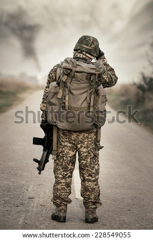 Road secured by special forces - stock photo