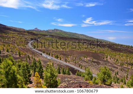 Road seen from viewpoint in Teide National Park, Tenerife, Canary islands, Spain - stock photo