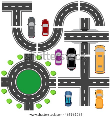 Road set for designing traffic intersections. The intersections of various roads. Roundabout Circulation. Transport. Raster illustration