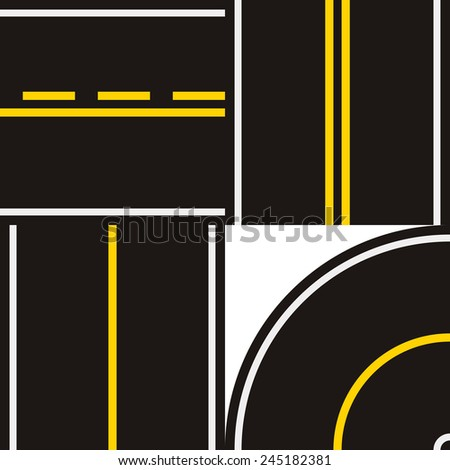 road set with road markings  - stock photo