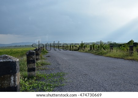 road side way on dam  in the day light and  blue sky background