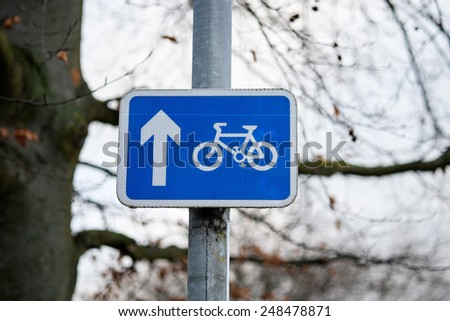 Road sign bicycle path