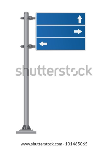 road sign blue color - stock photo