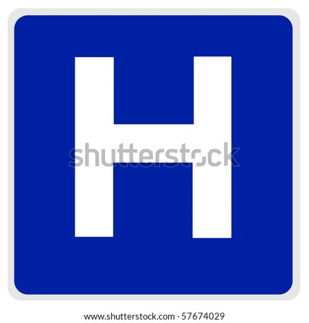 road sign - blue, white H for hospital - with path - stock photo