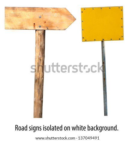 Road sign boards. Empty space for your own text. - stock photo