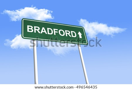 Road sign - Bradford. Green road sign (signpost) on blue sky background. (3D-Illustration)