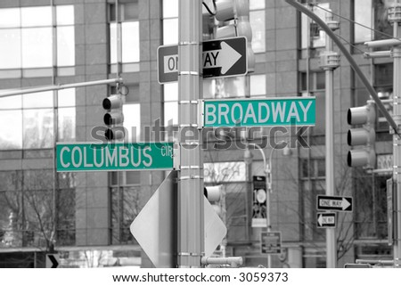 Road sign - Broadway - Columbus Circle - Manhattan - New York - United States of America - stock photo