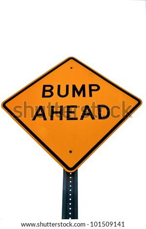 Road sign bump ahead - stock photo