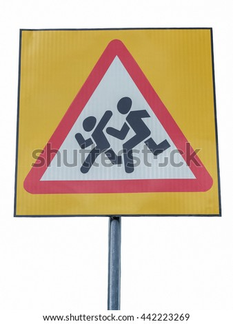 "Road sign ""Caution Children"" on a white background"