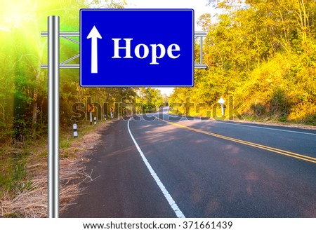 Road Sign concept Country Road and landscape natural countryside background.