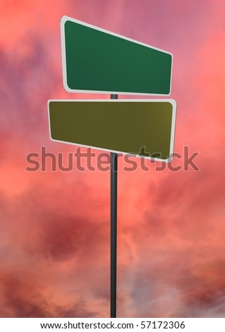 Road sign concept, empty to be designed with your own words