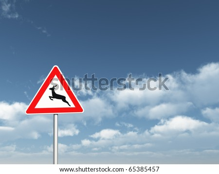 road sign deer crossing under cloudy blue sky - 3d illustration
