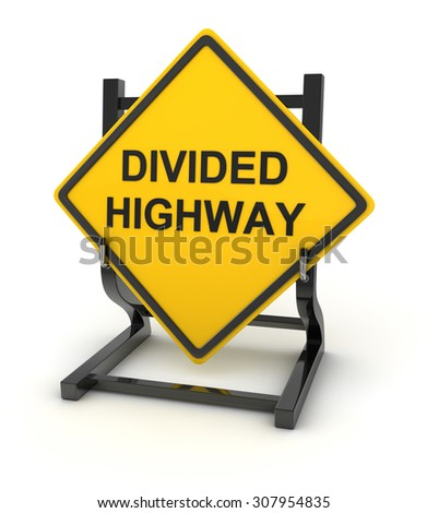 Road sign - divided highway , This is a computer generated and 3d rendered picture. - stock photo