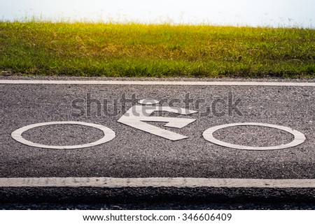 Road sign for bikes and cyclists outdoors. Bicycle way symbol on park background