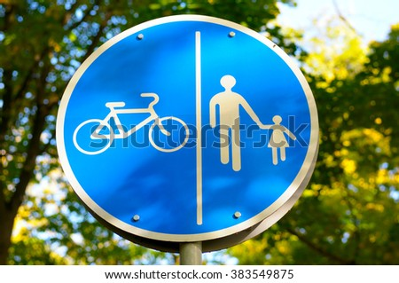 road sign for bikes and pedestrians - stock photo