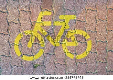Road sign for bikes and pedestrians outdoors - stock photo