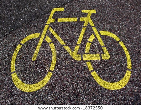 Road sign for cycle on the asphalt