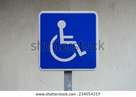 road sign for disabled parking - stock photo