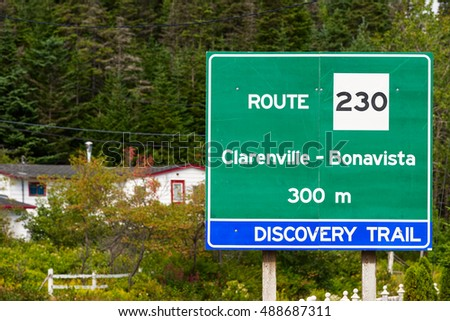 Road sign for Route 230 in central Newfoundland