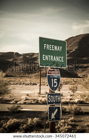 road sign freeway entrance