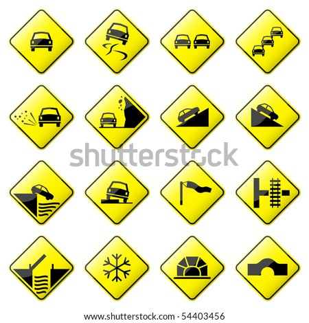 Road Sign Glossy Raster (Set 3 of 8)