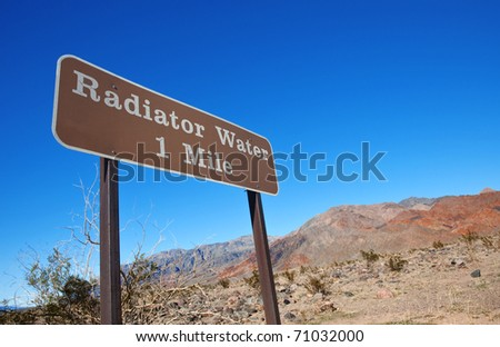 Road sign in Death Valley National Park, California.