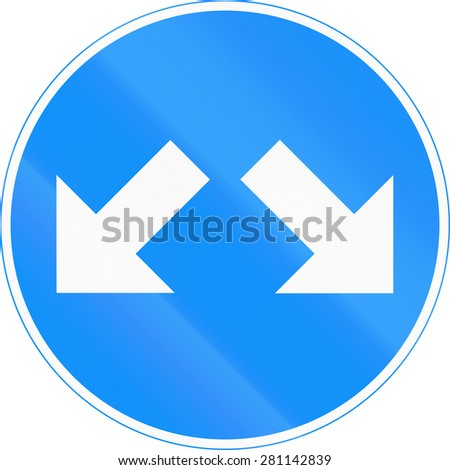 Road sign 418 in Finland - Pass on this side - stock photo