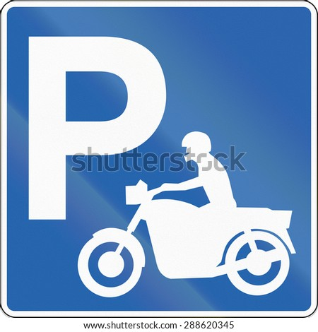 Road sign in Iceland - Parking for motorcycles - stock photo