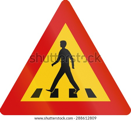 Road sign in Iceland - Pedestrian crossing - stock photo