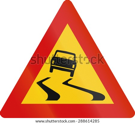 Road sign in Iceland - Slippery road surface - stock photo