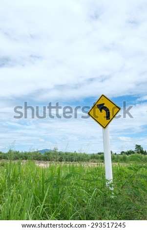 Road sign in the country - stock photo