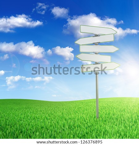 Road sign in the middle of green field with cloudy sky on background - stock photo