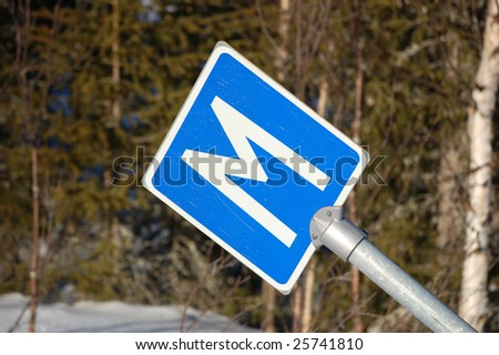 road sign in the winter country - stock photo