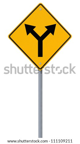 Road sign indicating a forked road ahead (isolated on white) - stock photo