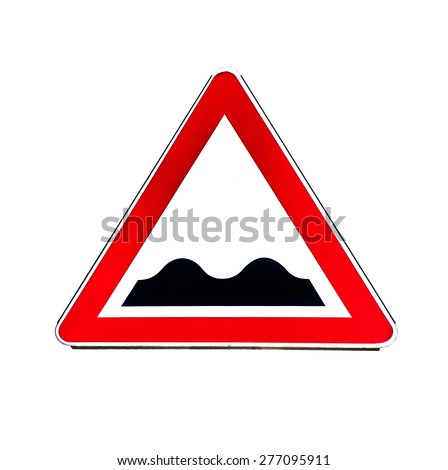 Road sign indicating speed bumps or uneven road isolated on white - stock photo