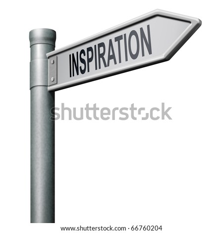 road sign indicating the way to inspiration get inspired be creative create and invent brainstorm and inspire - stock photo