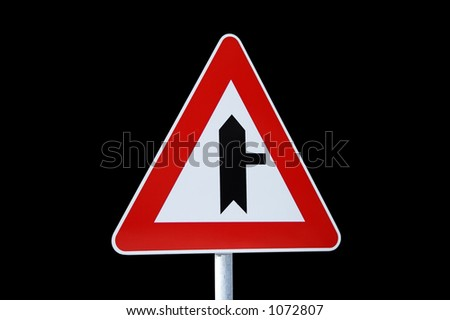 road sign, isolated on black - stock photo
