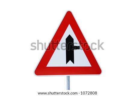 road sign, isolated on white - stock photo