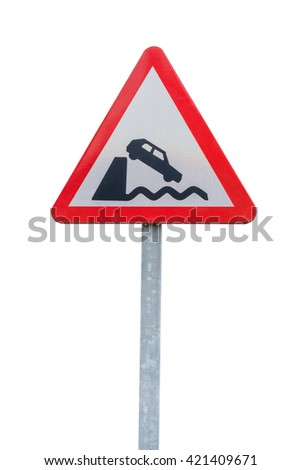 road sign leaving the embankment or shore isolated on white background