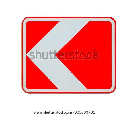 "Road sign ""left turn"" isolated on white background - stock photo"
