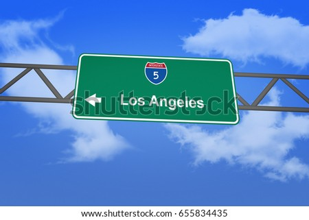 Road sign - Los Angeles. Green road sign (signpost) on blue sky background. (3D-Illustration)