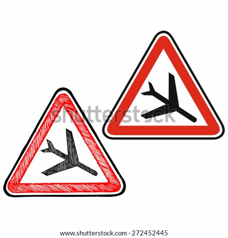 Road sign low flying aircraft. Warning sign. Raster version - stock photo