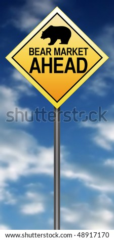 "Road Sign Metaphor with ""Bear Market Ahead"" - stock photo"