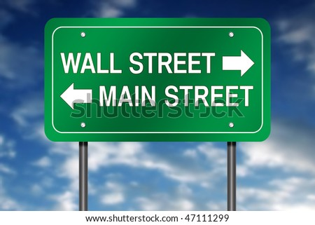 "Road Sign Metaphor with ""Wall Street - Main Street"" - stock photo"