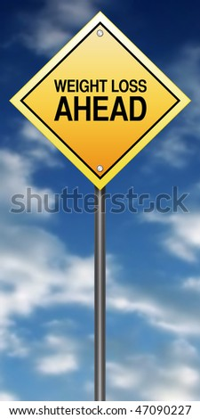 "Road Sign Metaphor with ""Weight Loss Ahead"""