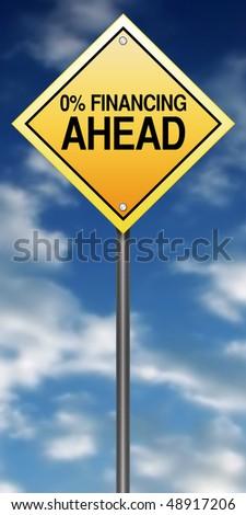 "Road Sign Metaphor with ""Zero Percent Financing"" - stock photo"