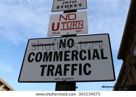 Road Sign,NO COMMERCIAL TRAFFIC