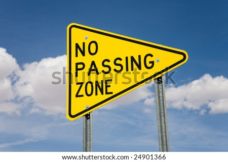 Road sign no passing zone, USA